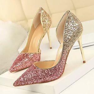 Rosy Red Size 6.5 ladies Stiletto Glitter ✨ Heels